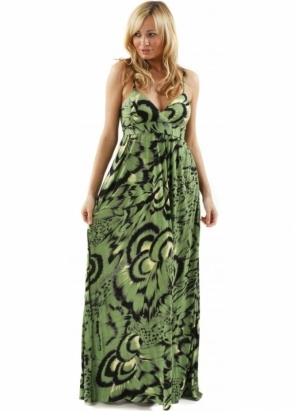 Traffic People Maxi Tribal Print Jersey Green Maxi Dress