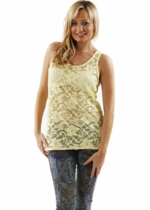 A Postcard From Brighton Vest Kimmie Lemon Drop Semi Sheer Lace Sleeveless Top