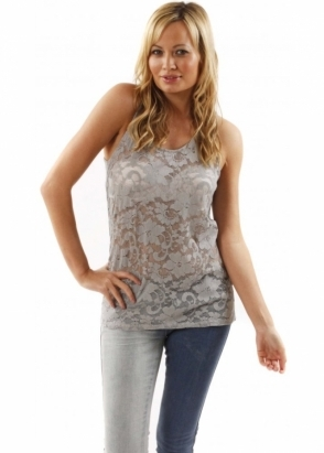 A Postcard From Brighton Vest Kimmie Pearl Grey Semi Sheer Lace Sleeveless Top