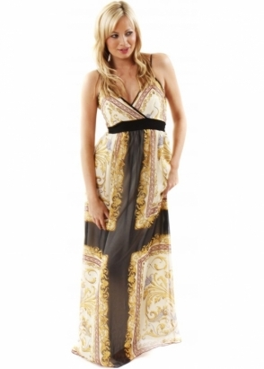 Little Mistress Dress Printed Chiffon Gold Chain Print Maxi Dress