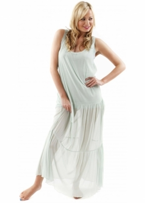 A Postcard From Brighton Dress Maxine Spearmint Tiered Mesh Over Maxi Dress