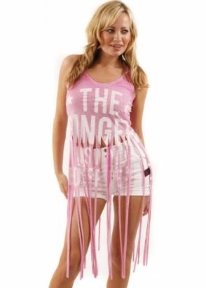 Sinstar Top The Singer Is My Boyfriend Frayed Cotton Mix Pink Vest