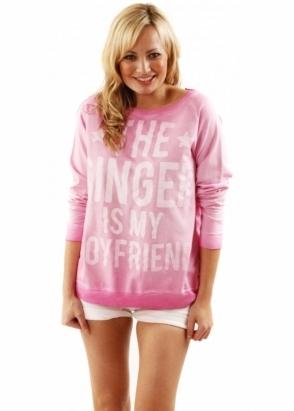 Sinstar Baggy Sweat The Singer Is My Boyfriend Cotton Mix Pink Top