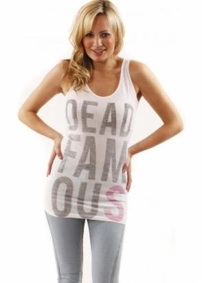 Sinstar Vest Dead Famous Slogan Cotton Mix White Top