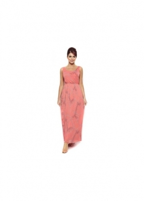 Amy Childs Christine Dress Coral Chain Print Maxi