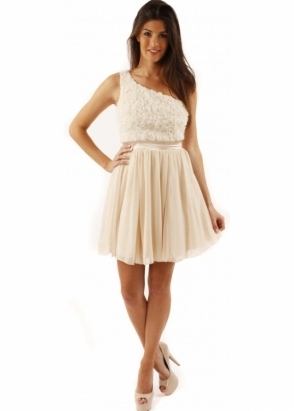 Little Mistress Dress Ella Cream One Shoulder Applique Rose Prom Dress