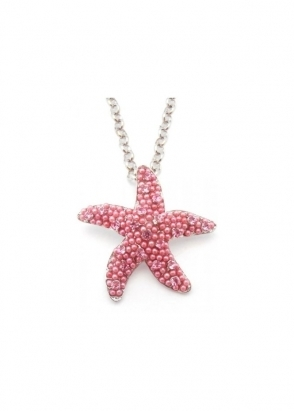 Dainty Damsel Starfish Necklace Limited Edition Pink Czech Crystals