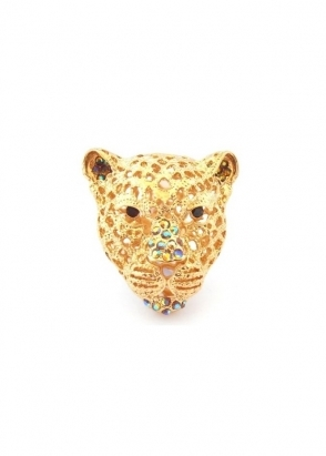 Dainty Damsel Leopard Head Ring Gold & Smoked Topaz Czech Crystal Limited Edition