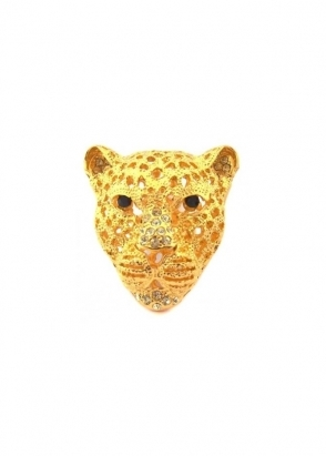 Dainty Damsel Leopard Head Ring Gold & Champagne Czech Crystal Limited Edition