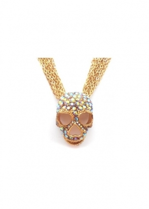 Dainty Damsel Skull Necklace Gold & Smoked Topaz Czech Crystals Limited Edition