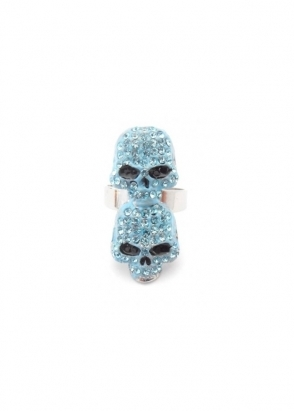 Dainty Damsel Two Skulls Ring Aqua Czech Crystals Limited Edition