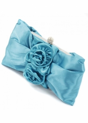 KoKo Bag Rose Applique Rosette Turquoise Satin Evening Bag