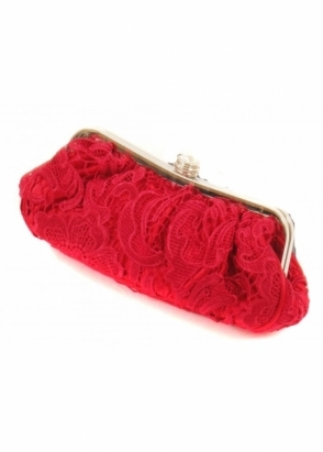 KoKo Bag Crystal Clasp Lace Covered Red Evening Clutch Bag