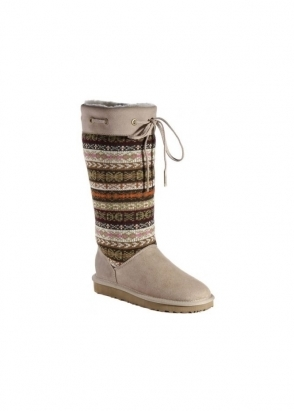 Love From Australia Navajo Woven Patterned Cuff Sand Sheepskin Boots