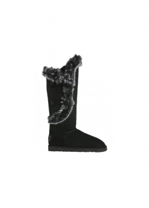 Australia Luxe Collective Nordic Angel X-Tall Rabbit Fur Trimmed Black Boots