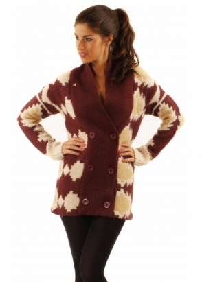 ICHI Patterned Wool & Alpaca Chunky Knit Cardigan Jacket