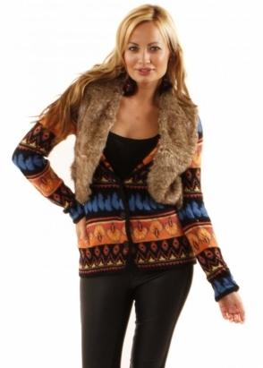 Desigual Micki Multicolour Patterned Faux Fur Gilet Cardigan