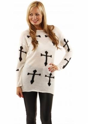 Love All Over Crucifix Knit Cream & Black Jumper