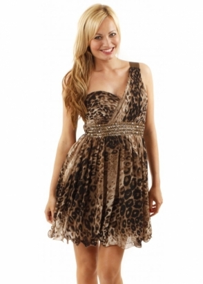 Little Mistress Lizzie Leopard Print One Shoulder Sequinned Prom Dress