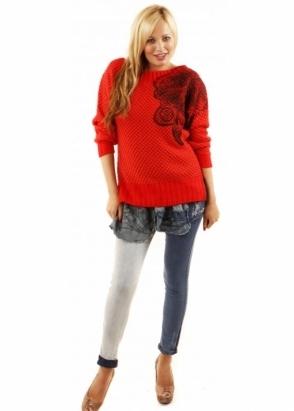Desigual Sol Patterned Chunky Knit Denim Jumper Dress