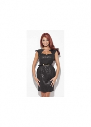 Amy Childs Tabitha Dress Belted Black Mini