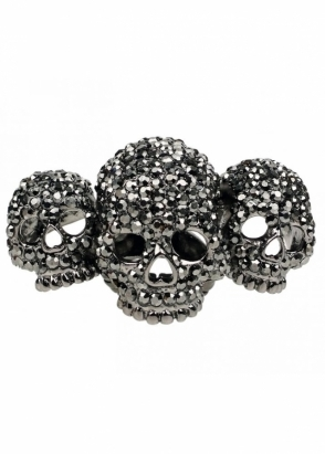Amy Childs Petwer Crystal Skulls With Love Three Skull Elastic Ring