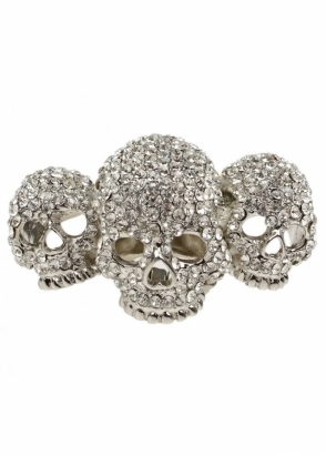 Amy Childs Silver Crystal Skulls With Love Three Skull Elastic Ring