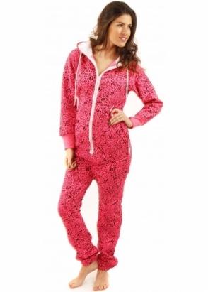 Designer Desirables Neon Pink Leopard Print Hooded Fleece Unisex Onesie