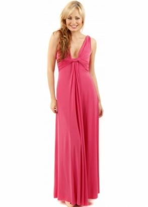 Designer Desirables Draped Grecian Column Panel Hot Pink Maxi Dress
