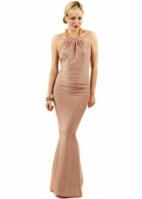 Honor Gold Mocha Chloe Gold Chain Maxi Dress
