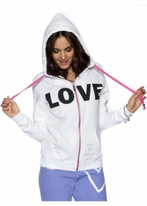 Peace Love World I Am Love L2L White Fleece Hoodie As Seen On Jessica Wright
