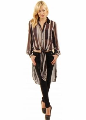 Prey Of London Black & Grey Semi Sheer Striped Shirt