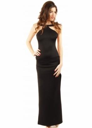Designer Desirables Black & Nude Mesh Insert Maxi Dress