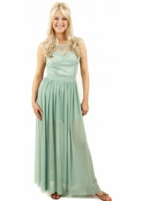 Designer Desirables Cross Your Heart Lace Detail Sage Green Maxi Dress