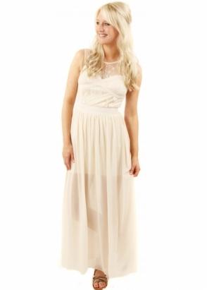 Designer Desirables Cross Your Heart Lace Detail Cream Maxi Dress