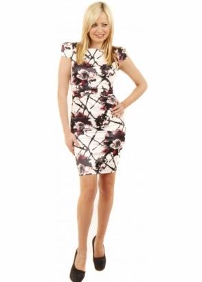 Goddess London Pink Floral Print Cap Sleeve Midi Dress