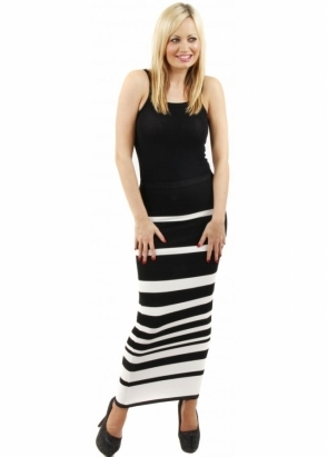 A Postcard From Brighton Kendall Alabaster Ivory Stripe Tube Maxi Skirt