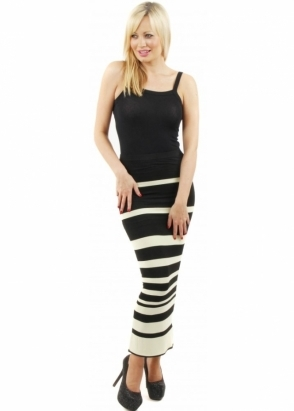 A Postcard From Brighton Kendall Citronella Green Stripe Tube Maxi Skirt
