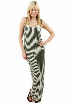 A Postcard From Brighton Rock Grove Stripe Citronella Green Maxi Dress