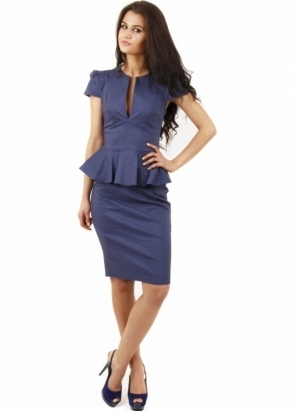 Goddess London Denim Blue Peplum Pencil Dress