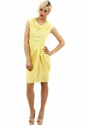 Goddess London Knot Front Draped Yellow Jersey Dress