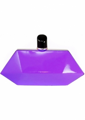 LYDC London Neon Purple Hexagonal Lipstick Court Clutch Bag