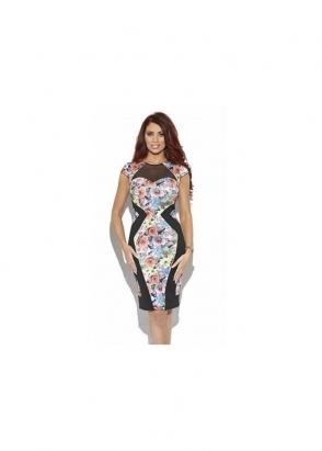 Amy Childs Serena Neon Floral Print Body Con Dress