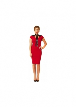 Lydia Rose Bright Effie Red Lace Back Neck Tie Pencil Dress