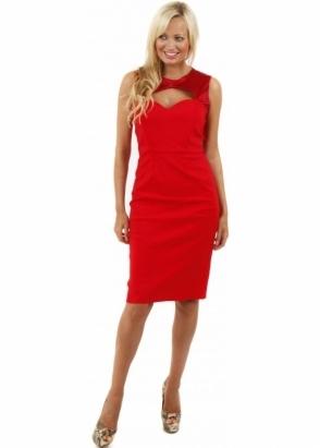Tempest Lara Red Satin Cut Away Pencil Dress