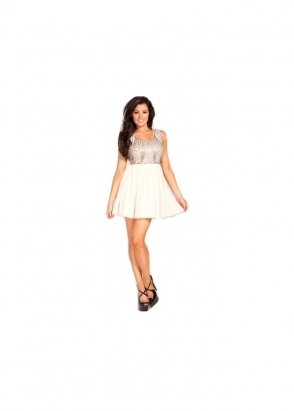 Jessica Wright Kelly Nude Silver Sequin Skater Mini Dress
