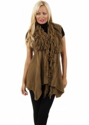 Stella Morgan Ruffle Detailed Knitted Brown Sleeveless Waistcoat