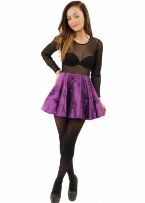 Koo-Ture Sheer Mesh Top Purple Taffeta Skater Mini Dress