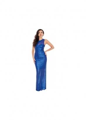 Goddess London Midnight Blue Mesh Insert Sleeveless Sequin Evening Maxi