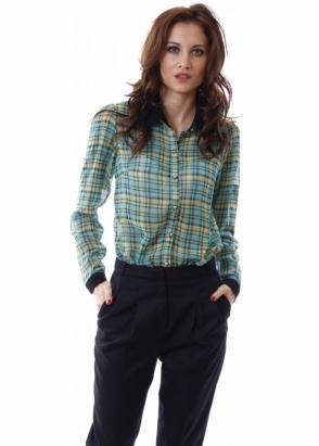 Laetitia Mem Green & Yellow Tartan Semi Sheer Shirt